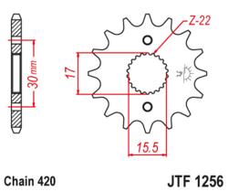 Zębatka przód 15Z JTF1256.15 Honda CR 80 85 CRF 70