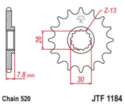Zębatka przód 18Z JTF1184.18 Triumph Scrambler 865 16-17 Speedmaster 16