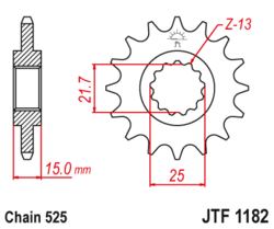 Zębatka przód 15Z JTF1182.15