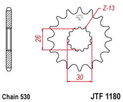 Zębatka przód 18Z JTF1180.18 Triumph Daytona 955i Speed Triple 1050