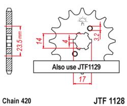 Zębatka przód 14Z JTF1128.14 Derbi Senda 50 08-12