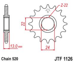 Zębatka przód 16Z JTF1126.16 Aprilia Moto 6.5 650 95-01 Pegaso 650 92-96