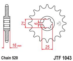 Zębatka przód 14Z JTF1043.14 Kymco Venox 250 02-12