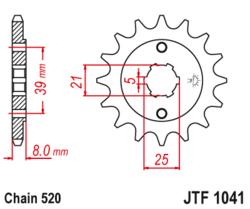 Zębatka przód 14Z JTF1041.14 Kymco MXer 150 Quad 02-07 MXU 150 05-17