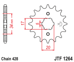 Zębatka przód 17Z JTF1264.17 Honda XR 125 XLR 125 CLR 125