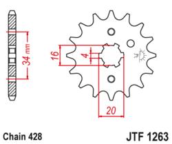 Zębatka przód 17Z JTF1263.17 Yamaha FZR 250 87-94