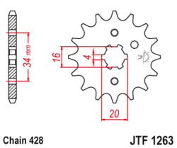 Zębatka przód 16Z JTF1263.16 Suzuki DR 125 Yamaha DT 100 125 175 TZR 125