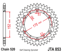 Zębatka tylna - aluminiowa 43Z JTA853.46