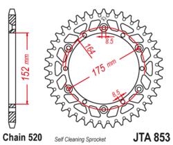 Zębatka tylna aluminiowa 43Z JTA853.43 Yamaha DT 200 250 400 XT 500