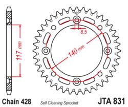 Zębatka tylna aluminiowa 46Z JTA831.46 Yamaha YZ 80 84-92