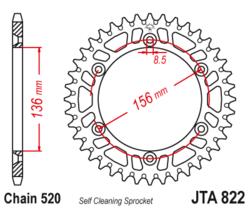 Zębatka tylna aluminiowa 50Z JTA822.50 Gas-Gas EC 125 250 Husqvarna CR 125