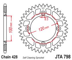 Zębatka tylna aluminiowa 52Z JTA798.52 Suzuki RM 80 Yamaha YZ 85