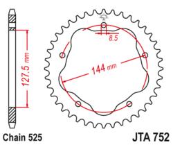 Zębatka tylna aluminiowa 42Z JTA752.42 Ducati Monster 996 Streetfighter 848