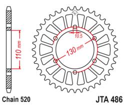 Zębatka tylna aluminiowa 43Z JTA486.43 Kawasaki EX 250 Suzuki GSX-R 600 750