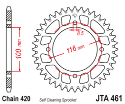 Zębatka tylna aluminiowa 53Z JTA461.53 Kawasaki KX 80 88 KX 100 88