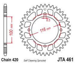 Zębatka tylna aluminiowa 52Z JTA461.52 Kawasaki KX 100 89-97