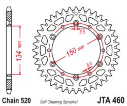 Zębatka tylna aluminiowa 52Z JTA460.52 Kawasaki KDX 175 80-82 KX 125 80