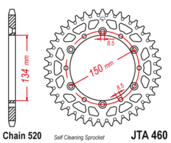 Zębatka tylna aluminiowa 47Z JTA460.47 Kawasaki KDX 200 220 KX 125 500
