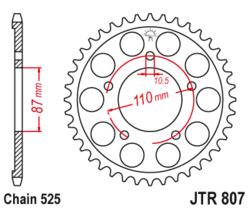 Zębatka tylna 47Z JTR807.47 Suzuki GSF 400 Bandit 91-92