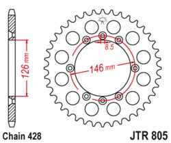 Zębatka tylna 50Z JTR805.50 Suzuki DR 125 08-13 TS 125 84-96