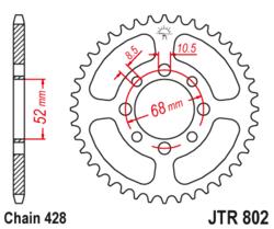 Zębatka tylna 43Z JTR802.43 Suzuki TS 80 84-85 Kawasaki KH 100 78-87