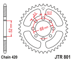 Zębatka tylna 48Z JTR801.48