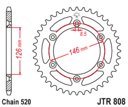 Zębatka tylna 43Z JTR808.43 Suzuki DR 350 97-98