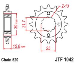Zębatka przód 15Z JTF1042.15