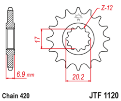 Zębatka przód 15Z JTF1120.15