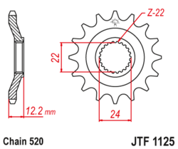 Zębatka przód 15Z JTF1125.15