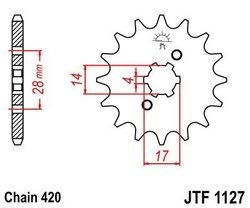 Zębatka przód 15Z JTF1127.15 Derbi Senda 50 02-05 Gilera SMT 50 03-05