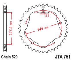 Zębatka tylna - aluminiowa 40Z JTA751.40