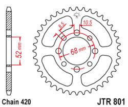Zębatka tylna 52Z JTR801.52